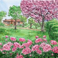 Landscape With Pink Peony Flowers