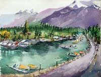 Watercolor - Mountain & Lake