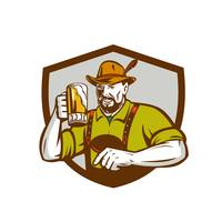 Oktoberfest Bavarian Beer Drinker Shield Retro