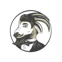 Goat Beard Tie Tuxedo Circle Drawing