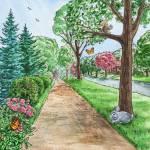 """""""Landscape With Rabbit Squirrel and Butterflies"""" by IrinaSztukowski"""