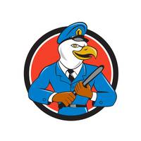 Bald Eagle Policeman Baton Circle Cartoon