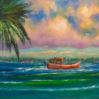 Oyster harvesting in Apalachicola Bay Art Prints & Posters by Mazz Original Paintings
