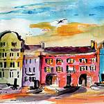 """Charleston Rainbow Row Watercolor and Ink"" by GinetteCallaway"