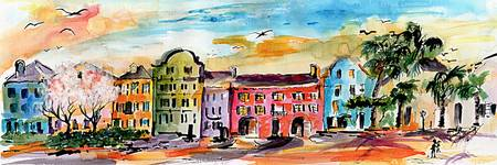 Charleston Rainbow Row Watercolor and Ink