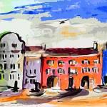 """Modern Charleston SC Rainbow Row"" by GinetteCallaway"