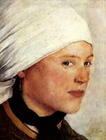 Wilhelm Leibl , Girl with White Headscarf, c. 1876