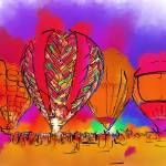 """Hot Air Balloons In Subtle Abstract"" by Kirtdtisdale"