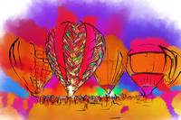 Hot Air Balloons In Subtle Abstract