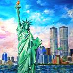 """""""NY - Manhattan WTC Twin Towers Statue of Liberty"""" by galina"""