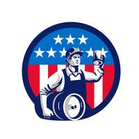 American Builder Beer Keg Flag Circle Retro