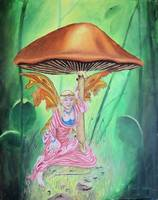 Fantasy-Painting-Fairy-Under-Mushroom