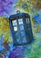 TARDIS from Dr. Who Watercolor and Ink