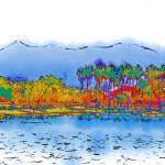 """""""Lake, Palms and Mountains In Subtle Abstract"""" by Kirtdtisdale"""
