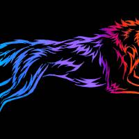 Tribal Colorful Wolf Art Prints & Posters by Rebecca Wang
