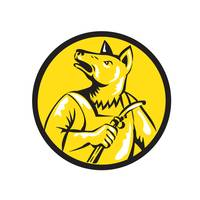 Dingo Dog Welder Circle Retro