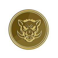 Wild Hog Head Angry Gold Coin Retro