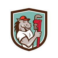 Horse Plumber  Monkey Wrench Crest Cartoon