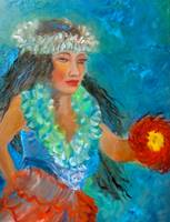 Hula Girl with Green Lei