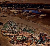 old lobster trap on the beach