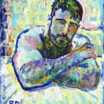"""""""Blue portrait of a young man"""" by BeaconArtWorksCorporation"""