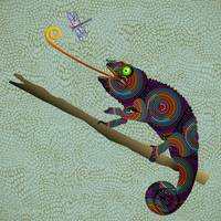 Beaded Circles Chameleon on Branch