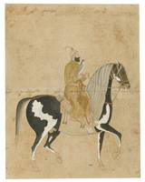 A falconer mounted on a dappled horse, Mughal, lat