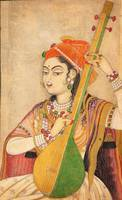 A Lady Playing the Tanpura, ca. 1735