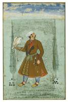 A portrait of a nobleman holding a falcon, attribu