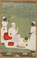 A nobleman smoking a hookah on a terrace with atte