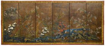 A RIMPA-SCHOOL SIXFOLD SCREEN. Japan, 18th-19th