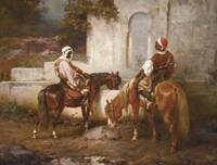 ADOLF SCHREYER 1828-1899 HORSES AT THE WELL