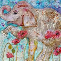 elephant art | mixed media | Elephant Dreams Art Prints & Posters by Miriam Schulman