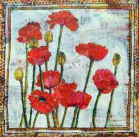 poppy art | mixed media collage | Spring's Smile