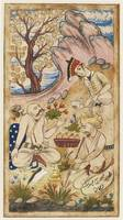Courtiers drinking by a stream, a leaf from a Diva