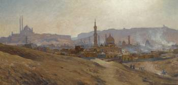 ETIENNE DINET 1861 - 1929 CAIRO, MIST , DUST AND F
