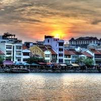 Sunset Singapore River Art Prints & Posters by William Teo