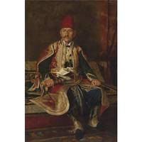 FRANZ RUBEN - TURKISH NOBLE SEATED IN A CARPETED I