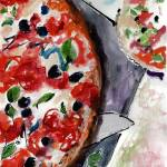 """Pizza Italian Food Watercolor"" by GinetteCallaway"