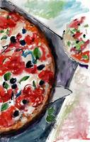 Pizza Italian Food Watercolor