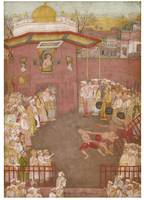 The Emperor Shah Jahan watching a wrestling match,