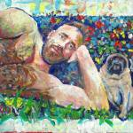 """Jim and Quincy the pug dog"" by BeaconArtWorksCorporation"