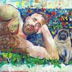 """Jim and Quincy the pug dog"" by RDRiccoboni"