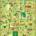 """Illustrated Map of Savannah, GA by Nate Padavick"" by TheyDrawandCook"