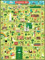 Illustrated Map of Savannah, GA by Nate Padavick