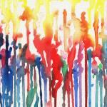 """""""Rainbow Rain Watercolor Abstract Irina Sztukowski"""" by IrinaSztukowski"""