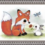 """Fox and Bunny - Woodland Animal Tales Nursery Art"" by Littlepig"