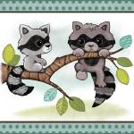 """Raccoons - Woodland Animal Tales Nursery Art"" by Littlepig"