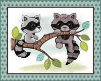 Raccoons - Woodland Animal Tales Nursery Art