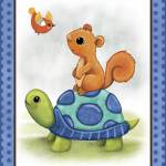 """Turtle and Bird - Woodland Animal Tales Nursery Ar"" by Littlepig"